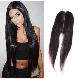 Indian Virgin Hair 2X6 Lace Closure Silky Straight With Baby Hair 2*6 Lace Closure Human Hair Closure Middle Part on Sale