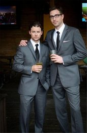 $enCountryForm.capitalKeyWord NZ - Custom Made Groom Tuxedos Dark gray Man Suits For Wedding Trim Fit groom suits men wedding tuxedo ( jacket+Pants+vest+tie)