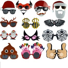 Funny sunglasses online shopping - Masquerade party cartoon Decoration Sunglasses personality festival Decoration Funny fashion Glasses Party Favor Christmas glasses FFA463