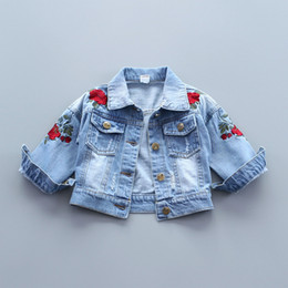 $enCountryForm.capitalKeyWord Canada - Baby Girls Denim Coats Vintage Jeans Jackets Girl Toddler Denim Jackets Infant Jean Rose Flower Embroidery Girl Sweaters Outwear