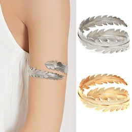 Silver leaf cuff bracelet online shopping - Feather Jewelry Upper Arm Bracelet Bangle Charm Women Leaf Shaped Punk Open Cuff Boho Bangles Hot Sale