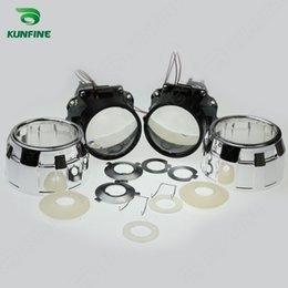 bi xenon projector headlights for cars 2018 - KUNFINE 2PCS lot 2.5 inch Bi-Xenon HID Projector Lens car high low beam for car headlight halogen or xenon bulb cheap bi