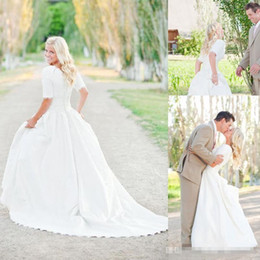 $enCountryForm.capitalKeyWord Australia - 2018 Modest Plus Size Wedding Dresses With Half Sleeves Full Lace Top Cheap Bohemian A-Line Court Train Satin Bridal Gowns Button Back