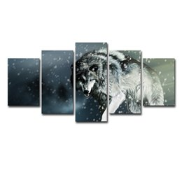 wall art large canvas prints NZ - Printed Landscape Modular Picture Large Canvas Painting 5 Panel Animal Wolf For Bedroom Living Room Home Wall Art Decor
