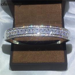 Sterling Silver Diamond Bangle Bracelet NZ - choucong bracelet channel setting Diamond S925 Sterling Silver Engagement Wedding bangle for women Fashion accessaries