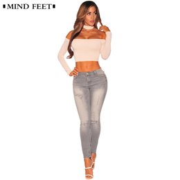 b2adc246bc0a1 MIND FEET Stretch Tight Jeans For Women 2018 Sexy Ripped Denim Pants Lady  Push Up Hip Pencil Pants Female Gray Trousers