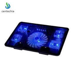 "Discount pc cooling fan usb - Centechia cooling pad Blue LED Laptop Cooler 5 Fans 2 USB Port Stand Pad for Laptop 10-17"" PC usb cooler for notebo"