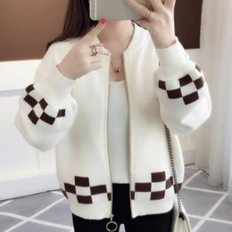 Women Sweater Cardigan Zipper 2018 New Autumn And Winter Short Female  Knitted Coat Student Korean Style Red Yellow Blue A58 ca6e85114