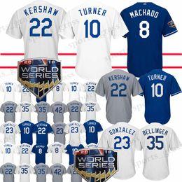 92976309e High-quality Los Angeles Dodgers Jersey 22 Clayton Kershaw 8 Manny Machado  10 Justin Turner 23 Adrian Gonzalez 66 Yasiel Puig jersey 2019