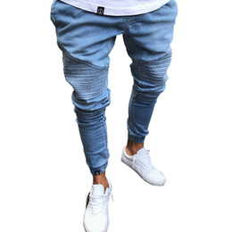 гофрированные штаны оптовых-Men Pencil Pants Biker Jeans Draped Stylish Slim Fit Jeans High Street Clothes For Men Denim Trousers Pleated Pants