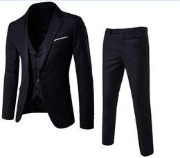 $enCountryForm.capitalKeyWord Australia - New Designs Coat and Pant Suit Men Solid Color Wedding Tuxedos For Men Slim Fit Mens Suits Korean Fashion (Jackets+Pants+Vest)