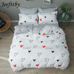 $enCountryForm.capitalKeyWord Canada - Home Textiles White Heart Black Plaid Bedding Sets Duvet Cover Linens Pillowcases Bed Sheets Full Queen King Size Bedclothes