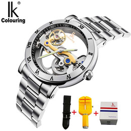 ik watches automatic 2019 - IK Men Automatic Mechanical Watches Top Stainless Steel Watch Skeleton Transparent Sport male WristWatch discount ik wat