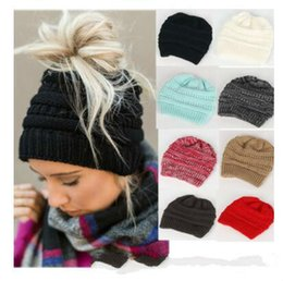 christmas crochet gifts 2018 - Christmas Gifts Hat Kids Teen Women Warm Thick Trendy Warm Winter knitted Chunky Soft Slouchy Beanie High bun Stretchy c
