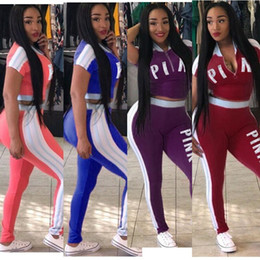 Discount zips baseball - Plus Size Pink Women Tracksuit Hoodies Sweatshirt Tops+Pants Outfits 2Pcs Sportswear LOVE PINK Letter Designer Summer Ca