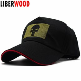 LIBERWOOD Punisher Skull Tactical Morale Baseball Cap Hat Embroidered  punisher Bundle with Square patch Cap Hat Men black 55-61 039b962a53d