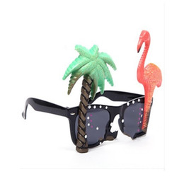 EyEglassEs for party online shopping - Summer Style Glasses Flamingo Hawaii Coconut Trees Eyeglass Cartoon Funny Parrot Spectacles For Party Carnival Festival Hot Sale hp aa