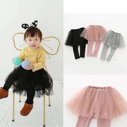 xl girls tutu 2019 - Kids Leggings Tulle Skirt Pants Girl Baby Autumn Pants Kids Leggings with Tulle Tutu Skirt Pants Cake Skirt Trousers 80-
