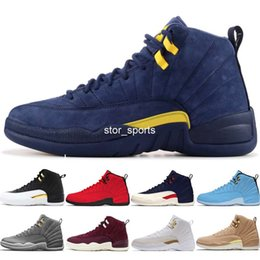check out fc25b cea83 2018 neue 12 Michigan PE Mens Basketball Schuhe Psny Marineblau Wildleder  12S Frauen GS Hyper Limonade Designer Sport Turnschuhe US 5.5-13