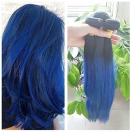Blue omBre virgin hair online shopping - Virgin Peruvian Ombre Blue Human Straight Hair Bundles Two Tone B Purple Ombre Hair Weaves