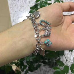 Emerald Bezel Canada - Thick Bracelet Enamel Key Gift Box Snowflake 925 Sterling Silver Variety Pendant Bracelet Large
