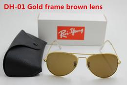 Sun Glasses Black Australia - 1pcs High Quality Classic Pilot Sunglasses Designer Brand Mens Womens Sun Glasses Eyewear Gold Metal Brown 58mm Glass Lens Black Case