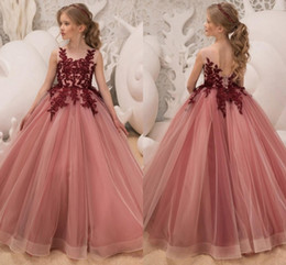 cf39344cd34 2019 Princess Flower Girls Dresses Jewel Neck Burgundy Lace Applique Crystal  Beaded Open Back Tulle Birthday Communion Girls Pageant Gown
