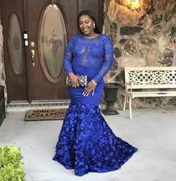 african silk sequins lace 2019 - Royal Blue African Prom Dresses 2018 Plus Size Sexy Mermaid Sheer Long Sleeve Lace Appliqued 3D Handmade Flowers Women P