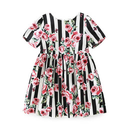pink rose clothing line NZ - Childrens Black Striped And Rose Princess Dresses 2018 Kids Party Clothes Baby Girls Evening Dress Toddler Wedding Dress For 110-150cm