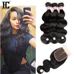 $enCountryForm.capitalKeyWord NZ - 3 Bundles Brazilian Body Wave Hair With Lace Closure 4*4 Free Middle Three Part Lace Closure 4pcs lot Human Hair Extension Natural Color