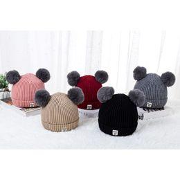 Baby Boy Skull Crochet Beanies Australia - Baby Toddler Girls Boys Infant Warm Winter Knit Beanie Hat Crochet Ski Ball Cap Autumn and winter children's knit plus fleece ca