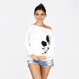 White Rose Pullover Australia - Women Hoodies Sweatshirts Fall 2017 Fashion Rose Printing White Long Sleeve Loose Casual Sweatshirt Pullover Sudaderas Mujer