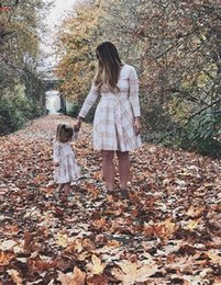 Match Clothing Mom Baby NZ - Family Matching Dress Outfits 2018 Newest Long Sleeve Check the big pendulum Striped Mother And Daughter Clothes Mom Baby Casual Dresses