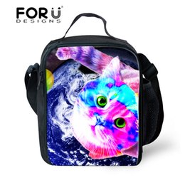 $enCountryForm.capitalKeyWord Canada - FORUDESIGNS Tumblr Style New 3D Galaxy Cat Printing Lunch Bag Pouch Storage Box Insulated Picnic Tote High Quality