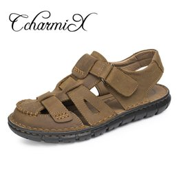 $enCountryForm.capitalKeyWord Canada - CcharmiX Mens Summer Sandals Men Soft Genuine Leather Casual Beach Men Shoes Fashion Man Outdoor Breathable High Quality Sandals