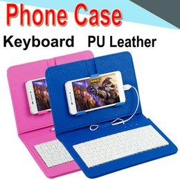 Vente en gros Fil housse de clavier pour téléphone androïde iphone téléphone ultra mince sans fil clavier ABS cas PU universel téléphone mobile EXPT-1