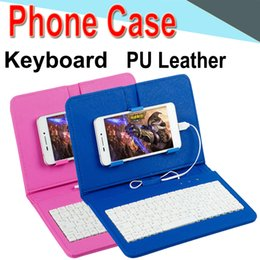 Discount keyboard case cover phone - Wire Keyboard Case Cover for iPhone Android Phone Ultra Thin Wireless ABS Keyboard PU Case Universal Mobile Phone EXPT-1