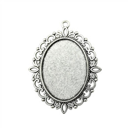 Wholesale Pendant Sets NZ - 4 Pieces Cabochon Cameo Base Tray Bezel Blank Jewelry Making Supplies Flower One Hanging Inner Size 30x40mm Oval Necklace Pendant Setting