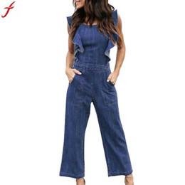 Discount backless denim jumpsuits - 2018 Fashion Womens denim Long Rompers jumpsuit Summer Sleeveless women overalls jeans Bandage Ruffles Backless Long Pla