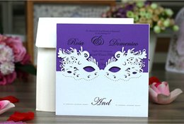 Golden weddinG invitations cards online shopping - Luxury laser cut wedding invitations customized printing Golden Hollow Flower Party invitation cards with envelopes for Masquerade Ball