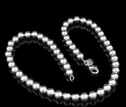 silver ball chain 8mm 2020 - Free Shipping with tracking number Best NEW 925 STERLING SILVER 4MM 6MM 8MM 10MM Sliver Solid Ball ROUND CHAINS NECKLACE