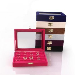 China Jewery Organizer Box Rings Earrings Storage Gift Box DIY craft Display Case Package Rack Suede glass cover clear suppliers