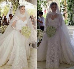 $enCountryForm.capitalKeyWord NZ - Luxury Shiny Lace Applique Mermaid Wedding Dresses with Detachable Royal Train High Neck Illusion Long Sleeve Church Wedding Gown