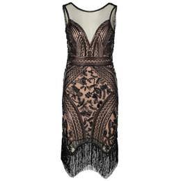 $enCountryForm.capitalKeyWord Australia - Women Flapper Dress Vintage V Neck Sleeveless Sequin Fringe 1920s Great Gatsby Charleston Dress Art Deco Ganster Party Costumes