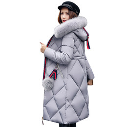 Chinese  2017 Winter Big Fur coat Thickened Women Parka Stitching Slim Long Cotton Coat Down Ladies Wowan Parka Female Down Jacket manufacturers