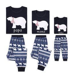 Cute Casual spring outfits online shopping - Cute Bear Family christmas pajamas outfits Xmas Kids clothing Homewear Sleepwear Snows PAPA MAMA BABY print New