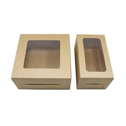 $enCountryForm.capitalKeyWord UK - Wholesale 20pcs Simple Square Design Kraft Paper Package Box With Window For Cake Candy Dessert Package Toy Model Display free shipping