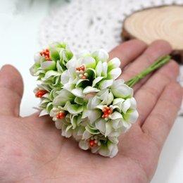 Toptan satış Ipek Degrade Ercik Yapay Çiçekler El Yapımı Buket Düğün Ev Dekorasyon için Diy Scrapbooking Çelenk Sahte Çiçekler 6 adet / grup