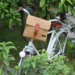 $enCountryForm.capitalKeyWord Canada - Tourbon Retro Bike Handlebar Bag Bicycle Front Basket Pannier Messenger Pouch Outdoor Cycling Accessory Waterproof Canvas Khaki