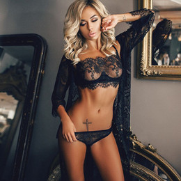 Three poinT lingerie online shopping - 1 Set Sale Newest set Ladies Sexy Perspective Lingerie Lace Eyelashes Three point Sexy Suit